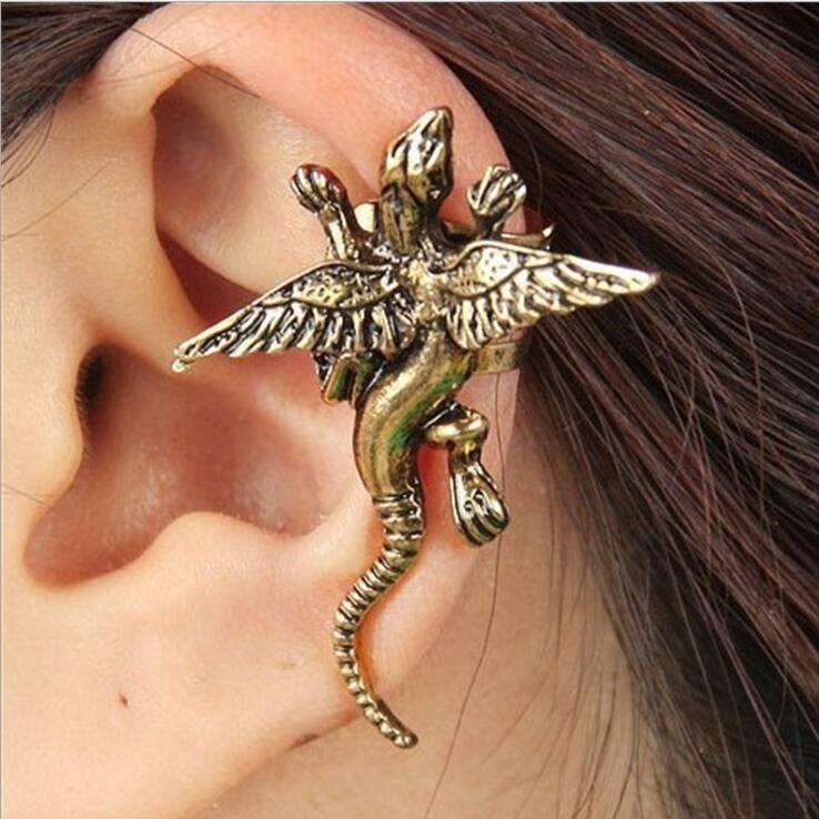 1pc Vintage Punk dragon wing Unisex Clip Earring ear cuff for man woman vintage metal punk animal lizard bird earring jewelry gi