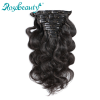 Rosabeauty 7 Pieces/Set Clip In Human Hair Extensions Body Wave Natural Color 70G 100G Remy Hair 14 22 inch