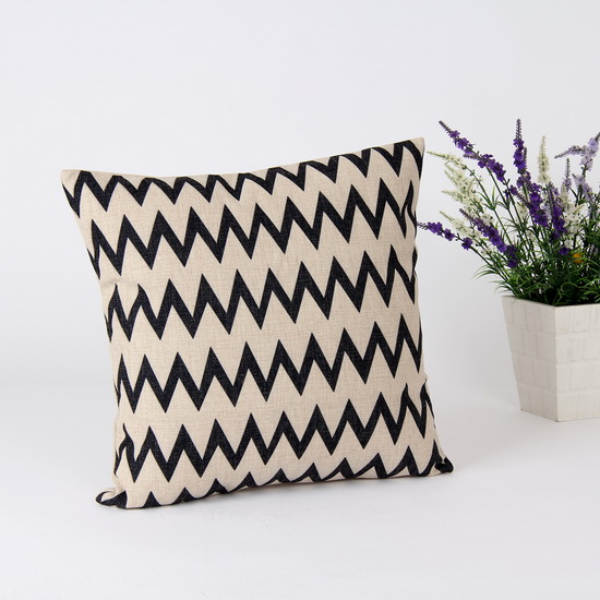 45*45 cm Decorative European Black Chevon Zig Zag Throw Cushion Cover Pillow Case for Sofa Couch