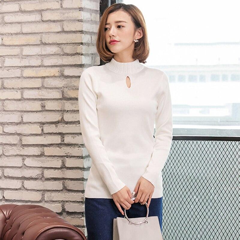 Casual Camisa de Manga Larga de Las Mujeres Suéteres Jersey de Cuello Alto de Pu