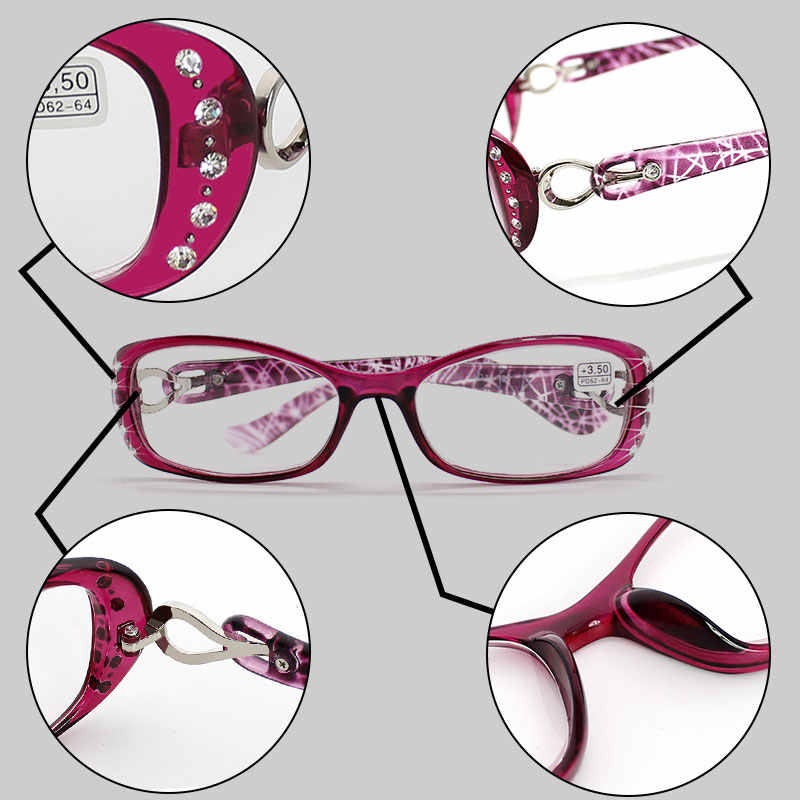 5715b95139c ... Rhinestone Reading Glasses Women Gafas de Lectura Luxury Fashion  Spectacle +50 +75 100 125 ...