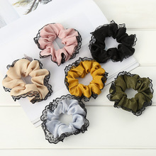 Women's Scrunchies Elasticity Hair ring  Girl Ponytail Hairband Solid color Hair Rope Black lace  Hair Accessories 6394 girl hairpiece stretchy hair ring fluorescent green black