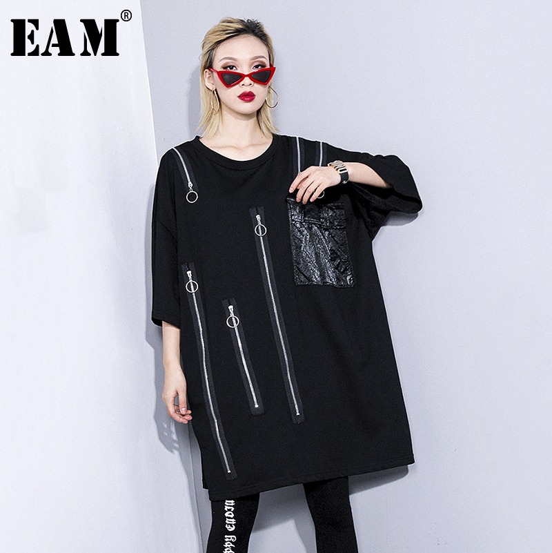EAM 2019 New Spring Summer Round Neck Three quarter Sleeve Black Zipper Pocket Stitch Big