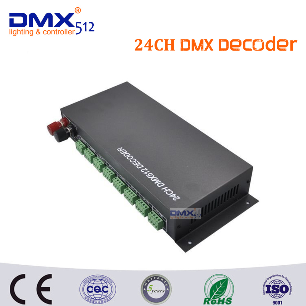 DHL free shipping 24CH led dmx dimmer Controller, 24 channel dmx512 decoder 24ch 24channel easy dmx512 dmx decoder led dimmer controller dc5v 24v each channel max 3a 8 groups rgb controller iron case