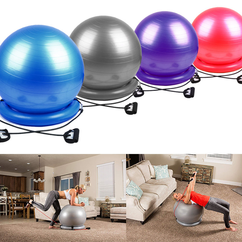 Sports Yoga Ball Exercise Pilates Workout Massage Ball With Stability Base Resistance Bands Gym Balance Fitball Yoga Balls 75cm