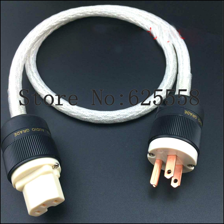 2M Free Shipping HI Fi Power cable  8AG Pure Silver Plated Power Cord Cable US AC Power Cable IEC Female Audio Power Cable  mpsource tena ac hi end 99 99997% occ 24k gold plated 3pin power cord cable speaker audio dvd cd amplifier ac power cable