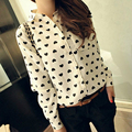 2016 new za women elegant  heart print blouses shirts retro vestidos long sleeve white casual shirts slim blusas vetement femme