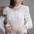 dabuwawa autumn brief white blouse with layered long sleeved ruffles shirts woman