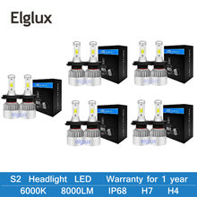 Elglux H4 LED H7 H11 H1 H3 9005 9006 Auto Car Headlight 72W 8000LM High Low Beam Light Automobiles Lamp white 6500K Bulb(China)