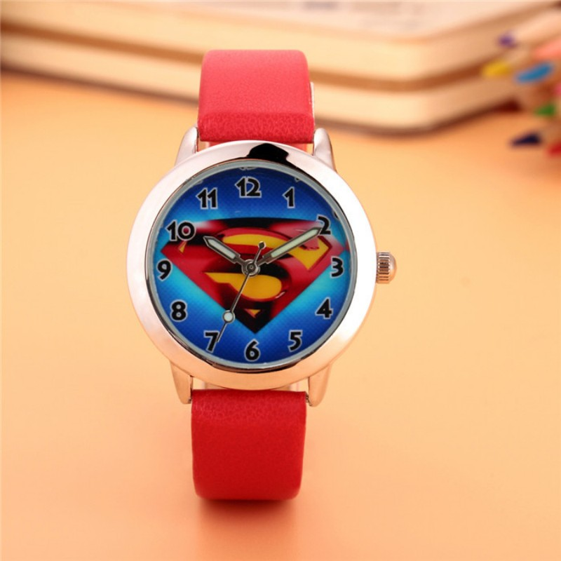 2019 New Fashion Superman Design Kids Watch Quartz Jelly Clock Boys Students Good Gift Wristwatches Relogio Kol Saati Clock
