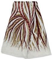 Allover sequins đám cưới pháp ren Châu Phi vải tuyn ren vải 2031 rượu vang Trắng red Gold 5 yards/PC