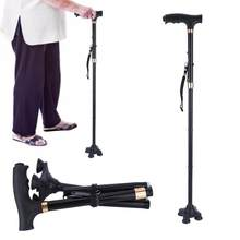 Walking Canes Adjustable Folding Cane Aluminium Alloy Anti-slip Walking Stick with Lamp for Old Man Walking Stick Health Care(China)