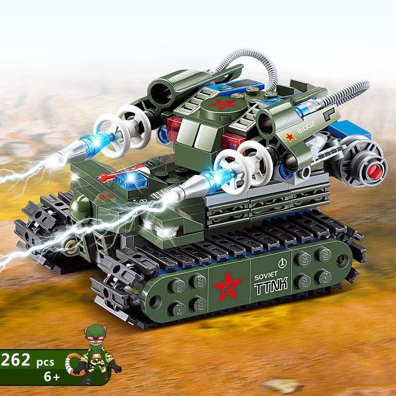 KAZI 262Pcs Miliatry Building Blocks Bricks Army Truck Tank Model Weapons Enlighten Brinquedos Playmobil Toys For Children