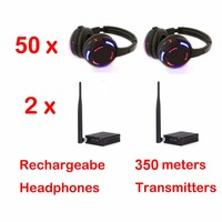 500m distance Professional Silent Disco 50 LED Headphones with 2 transmitters RF Wireless For DJ club party meeting broadcast