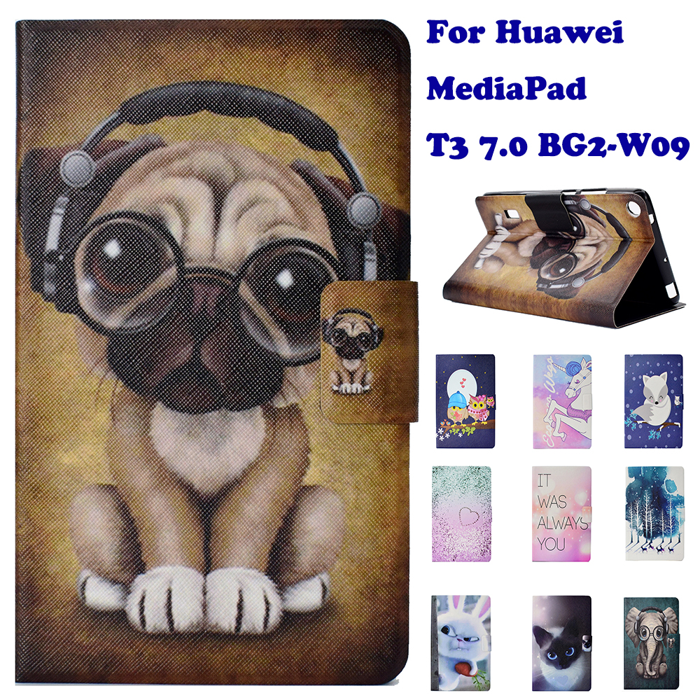 Fashion Stand Flip PU Leather Case For Huawei MediaPad T3 7.0 BG2-W09 Tablet Smart Case Cover Fundas Coque Dog Panda Elephant w 7 classic flip open pu leather case w stand for huawei y300 white