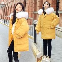 QoerliN Plus Size Big Fur Winter Coat Thickened Parka Women Stitching Slim Long Coat Down Cotton Ladies Down Parka Down Jacket F