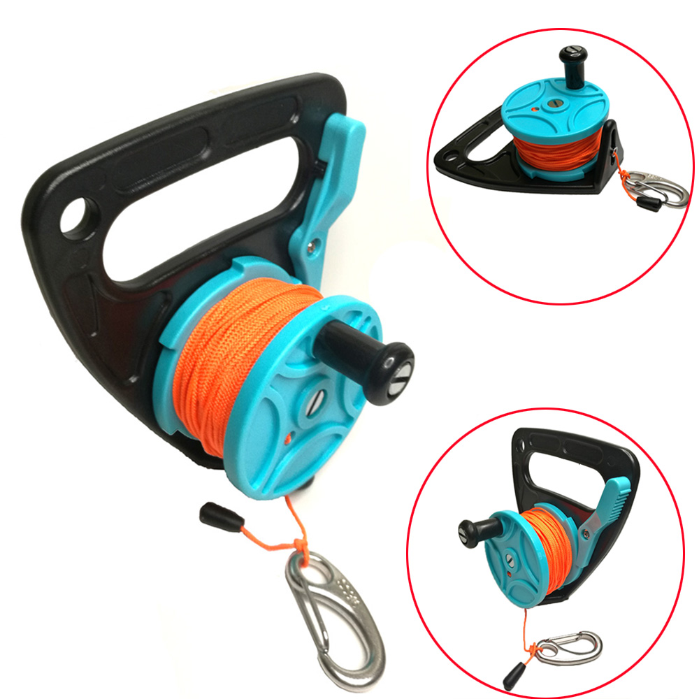150ft Line SMB Dive Wreck Cave Diving Reel with Handle Thumb Stopper Clip Hook for Underwater Scuba Diving Diver Snorkeling