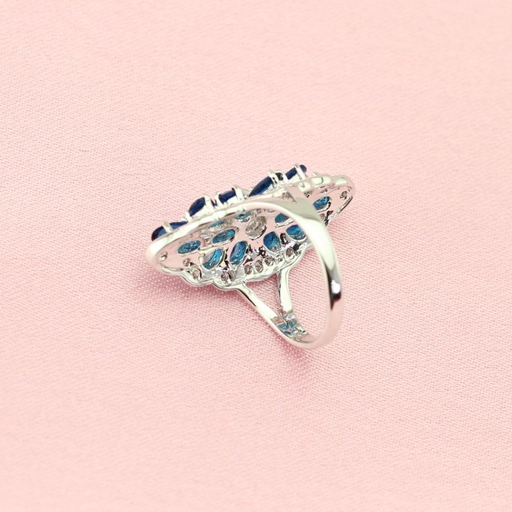 WPAITKYS Trendy Dark Navy Blue Crystal White Crystal Silver Color ...
