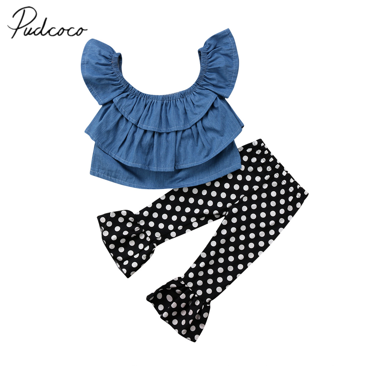 2018 Brand New Toddler Infant Child Kid Baby Girl Clothes Top Off shoulder Ruffled Shirt Flare Pants 2Pcs Set Summer Outfit 1-4T summer infant baby girl flower crop top shorties pants outfit sunsuit