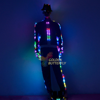 Dance costumes Fashion Luminous Pants Suits LED Clothing Talent Show Men/Woman Glowing Clothes With Dance Dress Accessories