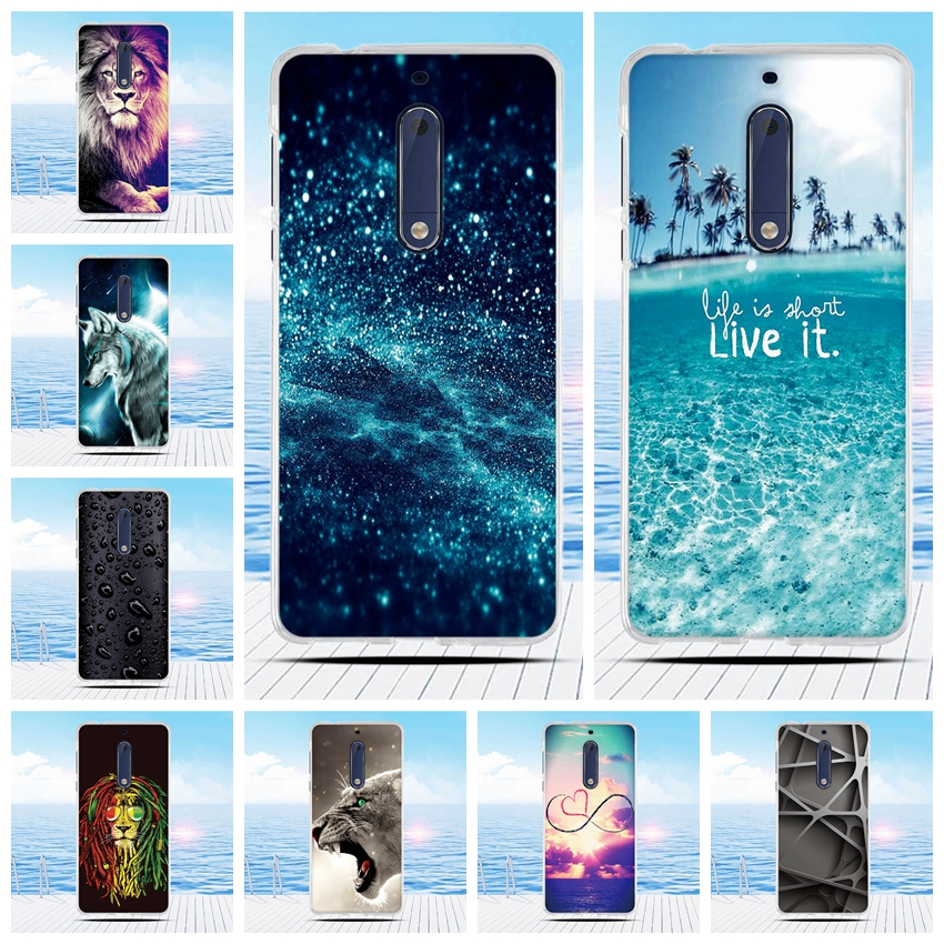 Galleria fotografica Cute Relief Drawing For Nokia 5 Case Cover For Nokia Silicone Cover Soft TPU Coque For Nokia 5 Cover 5.2 Inches Mobile Phone Bag