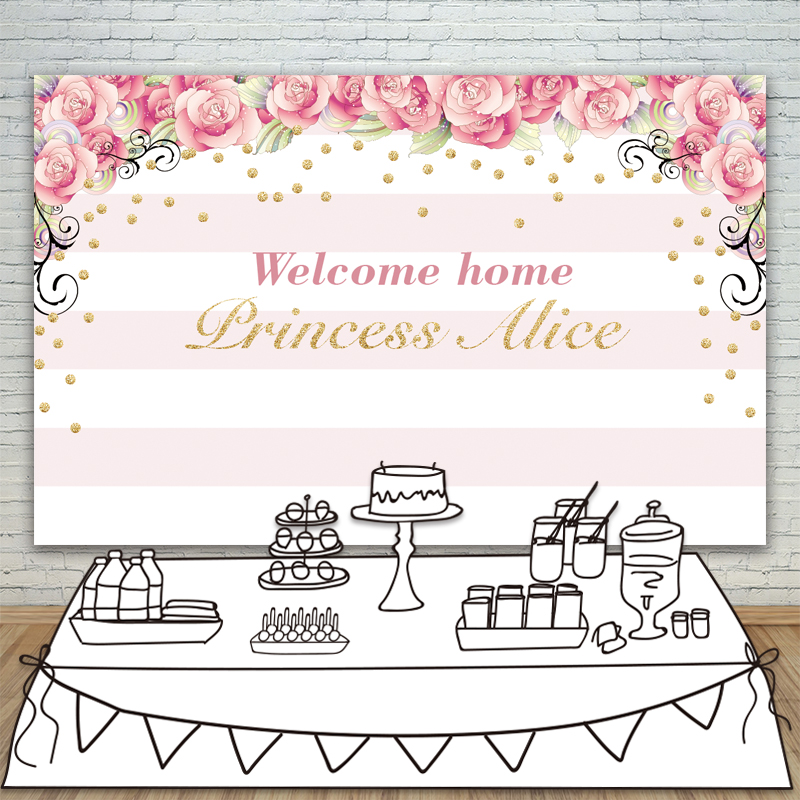 Allenjoy backdrops Baby Shower Background Pink Stripe Rose Gold Circle Birthday Invitation celebration Party customize birthday backdrops baby shower eiffel tower background black and white stripe invitation celebration party allenjoy customize