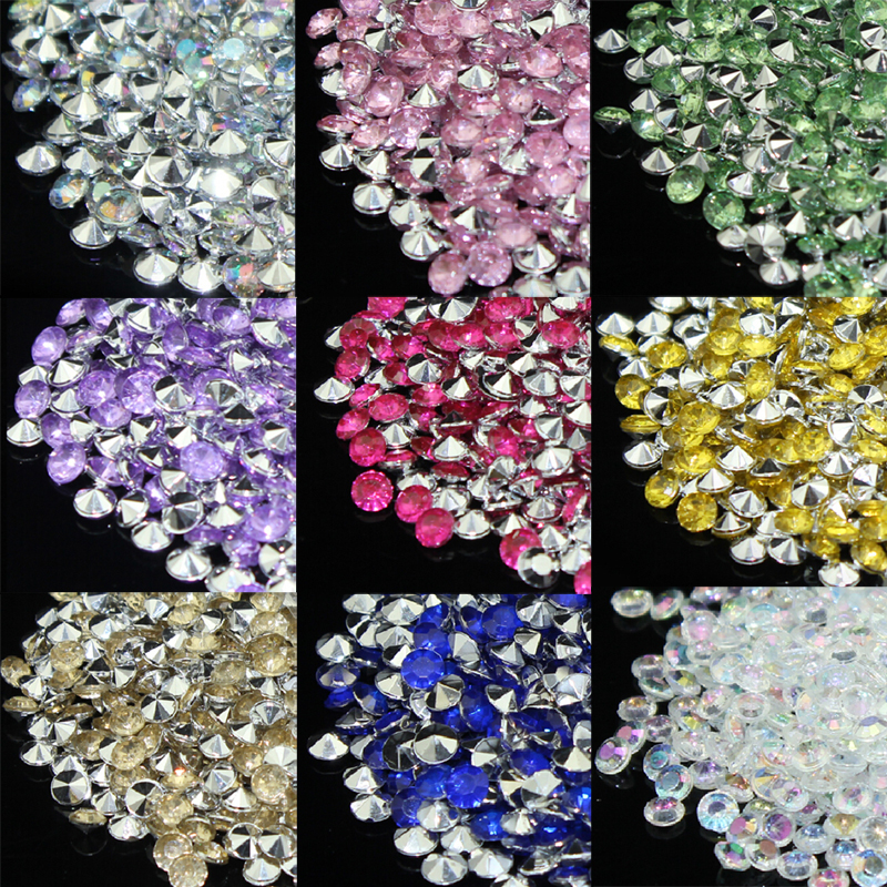 10000pcs/bag Silver &Sapphire blue Diamond Confetti 4.5mm 1/3 Carat Wedding Party Table Decoration Supply Popular