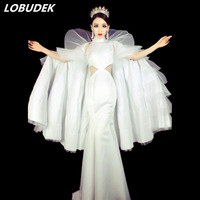 White Cloak long dress female DJ DS costumes Clubs Bar singe dancer performance Costume Party Prom Catwalk special stage wears
