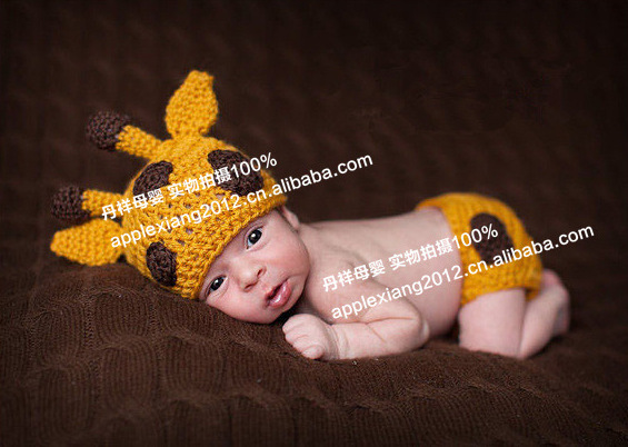 Free shipping newborn baby fawn knit photography clothes handmade