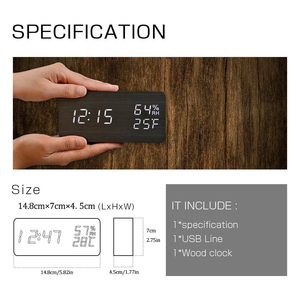Image 5 - JINSUN Modern LED Alarm Clock Despertador Temperature Humidity Electronic Desktop Digital Table Clocks