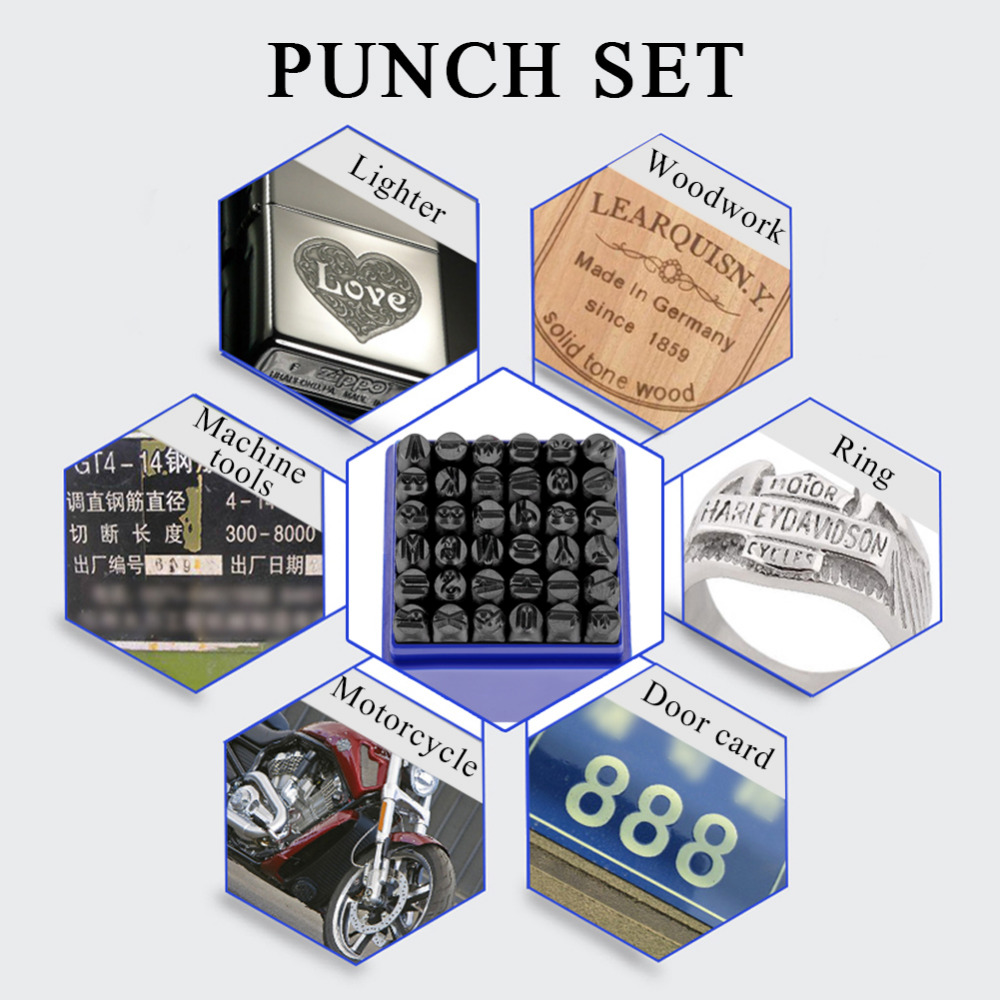 36pcs 6mm Carbon Steel Number/Capital Letter Stamp Punch Set for Metal Wood Leather Plastic Sewing Tool