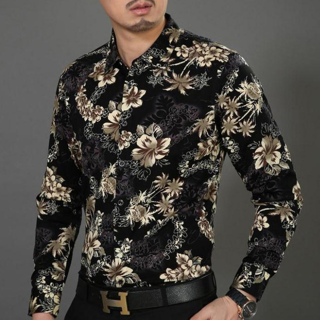 Black floral shirt mens custom shirt for Black floral print shirt
