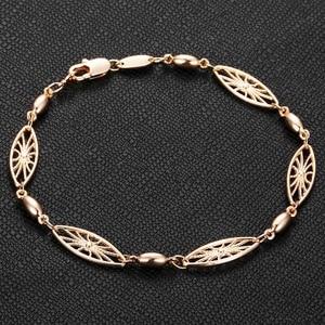 Image 4 - 6mm 585 Rose Gold Bracelet for Womens Girls Elegant Flowers Link Weaving Bracelet Fashion Wedding Jewelry Gift CB12
