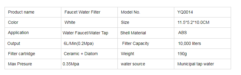 Faucet Water Filter with Washable Ceramic Filter Cartridge Tap Water Purifier For Household Kitchen Faucet Percolator  (1)