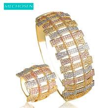 MECHOSEN Luxury Cubic Zirconia Big Bangle Ring Set Gold Color Full Crystal Bracelet & Bangle Wide Ring Women Wedding Jewelry Set