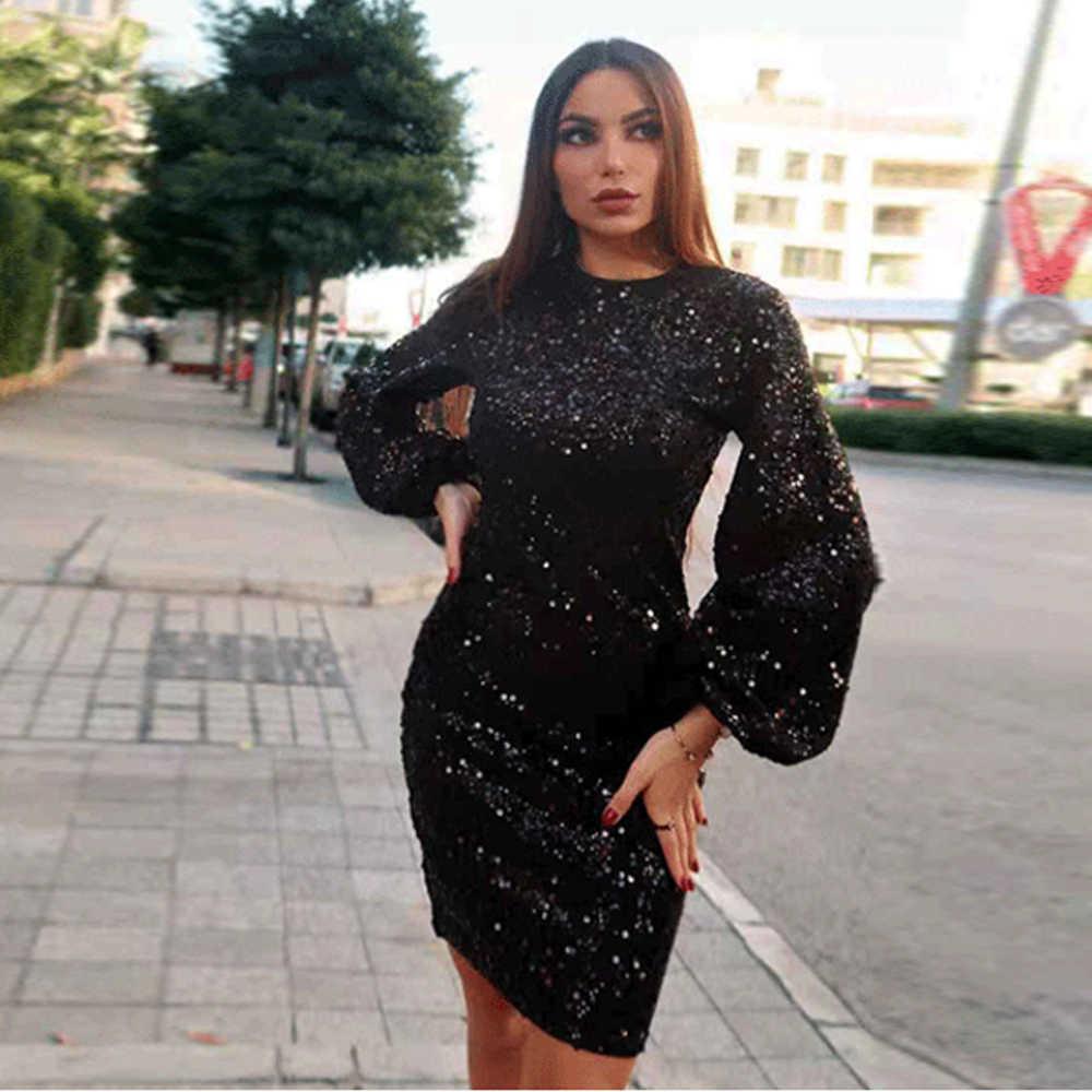 Tosheiny 2019 Women Sexy O Neck Latern Sleeve Sequin Dresses Female Mini  Party Dress Vestdios TH0006 03fffdb57219