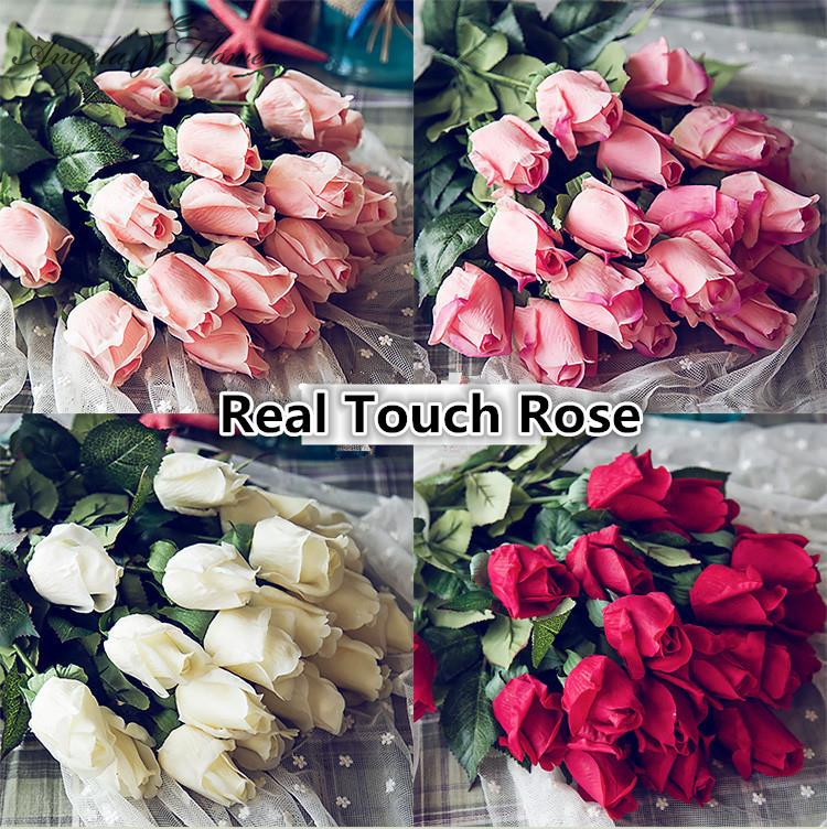 Fresh Real Touch rose Bud Artificial silk wedding Flowers bouquet ...