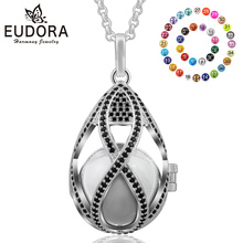 Eudora 20 MM Harmony Balo Ball Elegance Black CZ Locket Cage Pendant Necklace With 20mm Colorful Chime Mexican Bola Jewelry K179