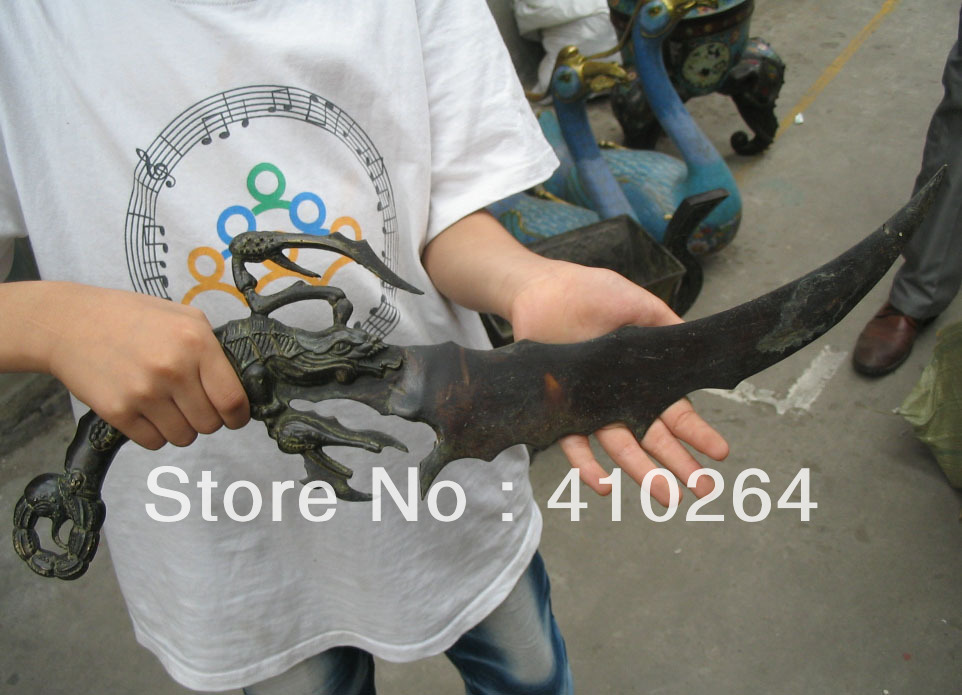 0116P old craft Fast shipping Crab sword font b knife b font bronze Chinese Classic Statue
