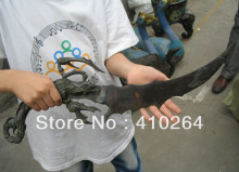 0116P $old craft$ Fast shipping Crab sword knife bronze Chinese Classic Statue (A0314)