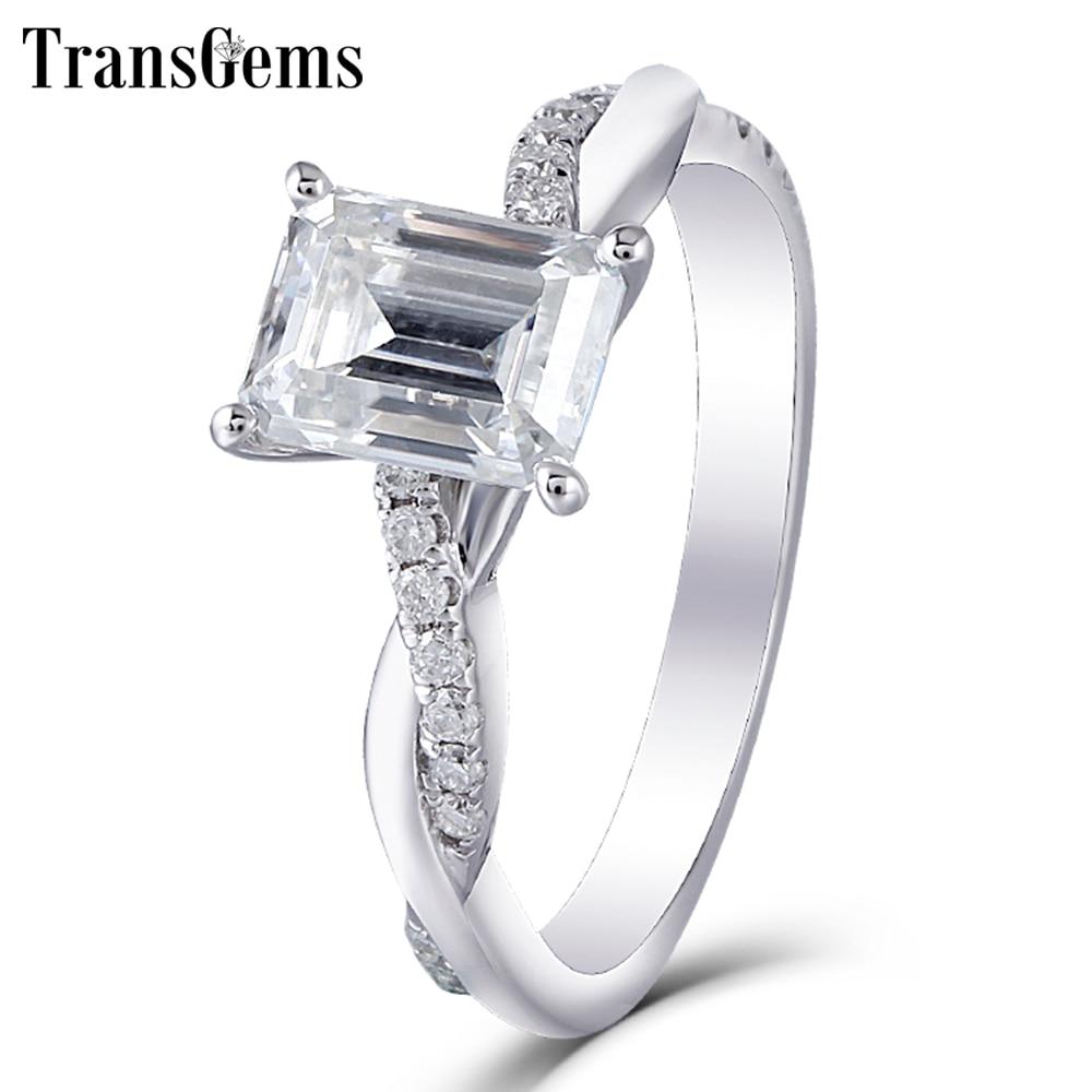 Emerald Cut Moissanite Gold Engagement Ring 1.8ct 6X8MM FG Color Diamond 14k White Wedding