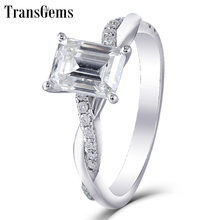 Emerald Cut Moissanite Gold Engagement Ring 1.8ct 6X8MM Emerald Cut FG Color Moissanite Diamond 14k White Gold Wedding Ring