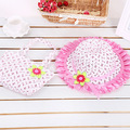 new Summer children's hat sunbonnet hat Tote Handbag suit Sun hat lace Flower  Princess caps Straw beach hat
