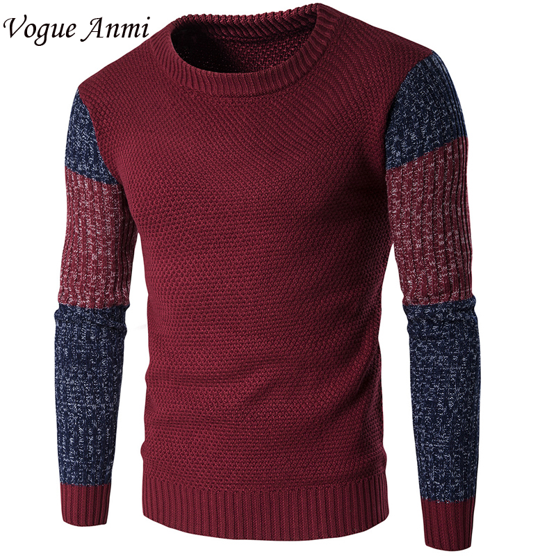 Vogue Animi New Autumn Fashion Brand Casual Sweater O-Neck Patched Slim Fit Knitting Mens Sweaters And Pullovers Men Pullover