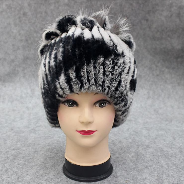 Woman Plus Size Winter Stretch Rabbit Fur Bomber Hats Female Fall Oversized Stretch Rabbit Fur Protective Ear Warm Bombers Hat