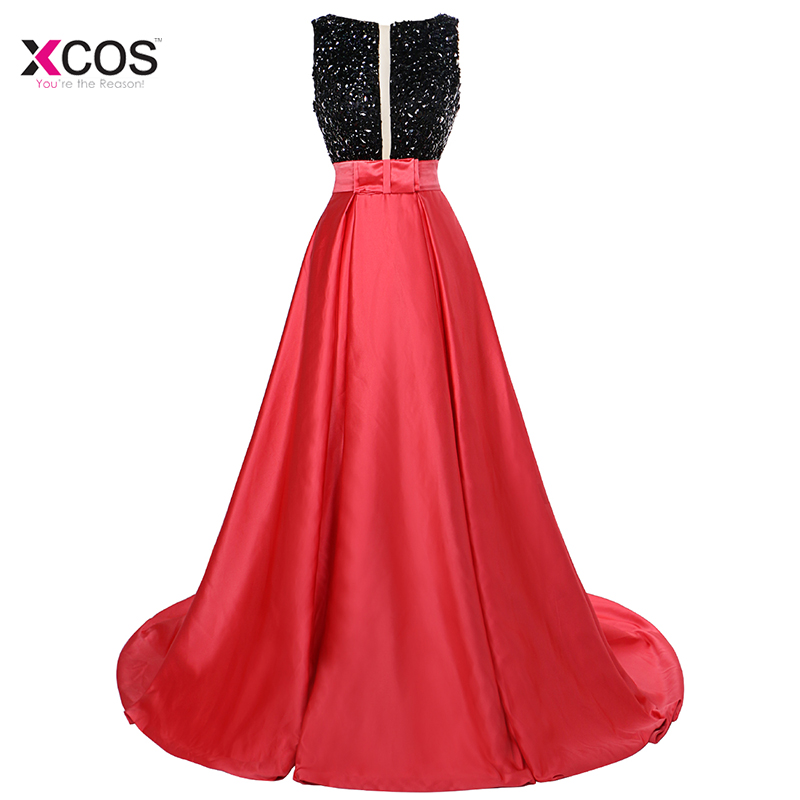 Two Tone Long Beadings   Prom     Dresses   2018 Backless A-Line Formal Black Crystal Evening Gown Vestido Formatura