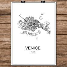 Venecia Italia negro blanco Mapa de ciudades del mundo impresión moderna cartel recubierto de papel para café sala de estar decoración del hogar adhesivo de arte de pared