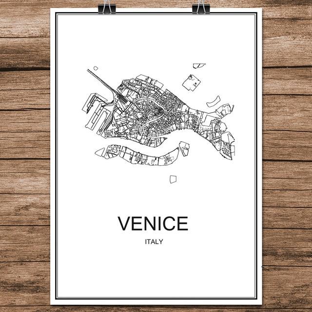 Venise Italie Noir Blanc Monde Ville Carte Moderne Imprimer Affiche ...