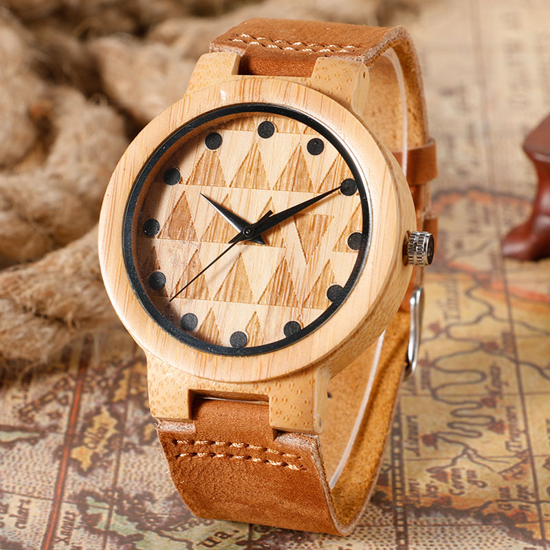 Bamboo Triangles Face Quartz Wrist Watch Men Creative Analog Wood Women Watches 2017 New Genuine Leather Band Simple Clock Gift fashion top gift item wood watches men s analog simple hand made wrist watch male sports quartz watch reloj de madera