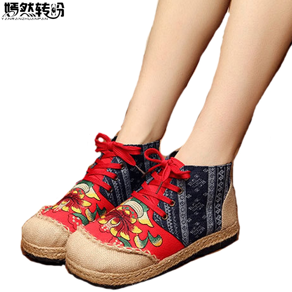 Women Linen Shoes Thailand Handmade Lotus Flower Vintage Embroidered National Casual Lace Up Canvas Single Shoes vintage embroidery women flats chinese floral canvas embroidered shoes national old beijing cloth single dance soft flats